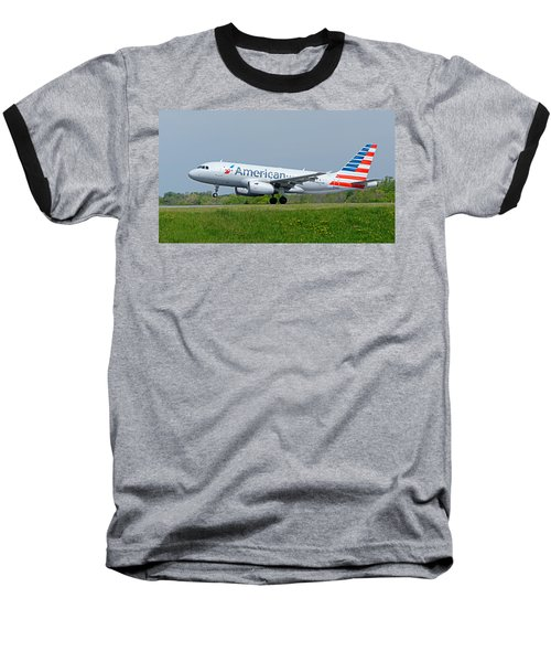 Airbus A319 Baseball T-Shirt by Guy Whiteley