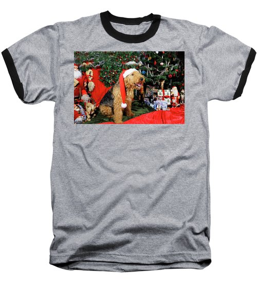 Airedale Terrier Dressed As Santa-claus Baseball T-Shirt