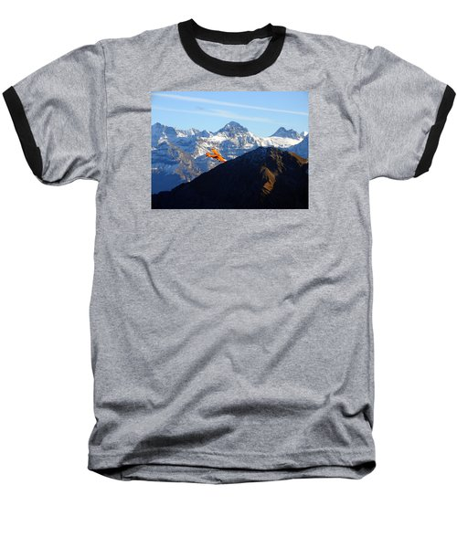 Airplane In Front Of The Alps Baseball T-Shirt by Ernst Dittmar
