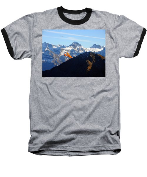 Airplane In Front Of The Alps Baseball T-Shirt