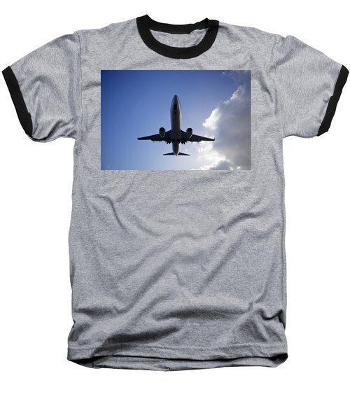Airplane Landing Baseball T-Shirt by Teemu Tretjakov