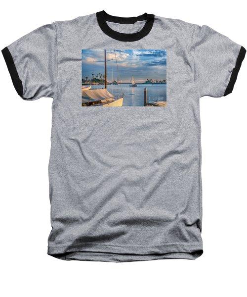 Alamitos Bay Inlet Sailboat Baseball T-Shirt by David Zanzinger