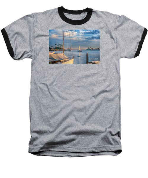 Alamitos Bay Inlet Sailboat Baseball T-Shirt