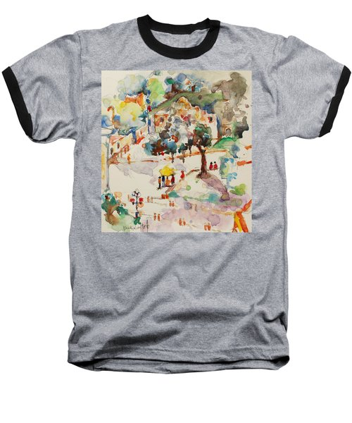Baseball T-Shirt featuring the painting Alamo From Hotel Window by Becky Kim