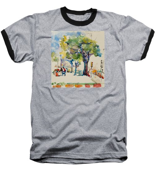 Baseball T-Shirt featuring the painting Alamo Plaza by Becky Kim