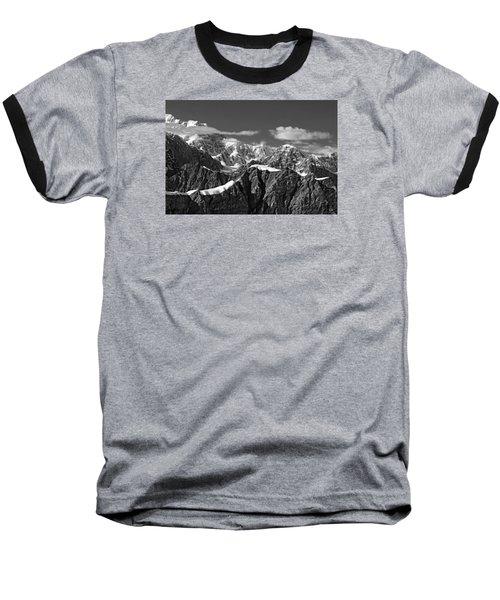 Alaska Mountain Range Black And White Baseball T-Shirt