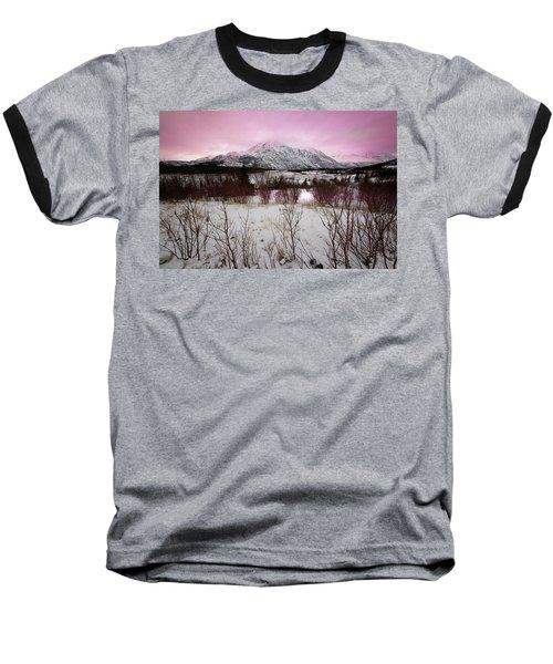 Alaska Range Pink Sky Baseball T-Shirt