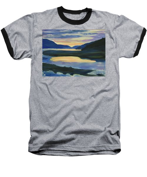 Baseball T-Shirt featuring the painting Alaska Sunset, Juneau by Yulia Kazansky