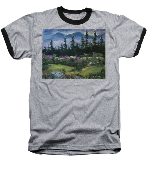 Baseball T-Shirt featuring the painting Alaskan Woods by Yulia Kazansky