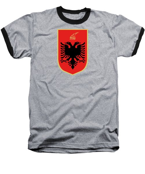Baseball T-Shirt featuring the drawing Albania Coat Of Arms by Movie Poster Prints