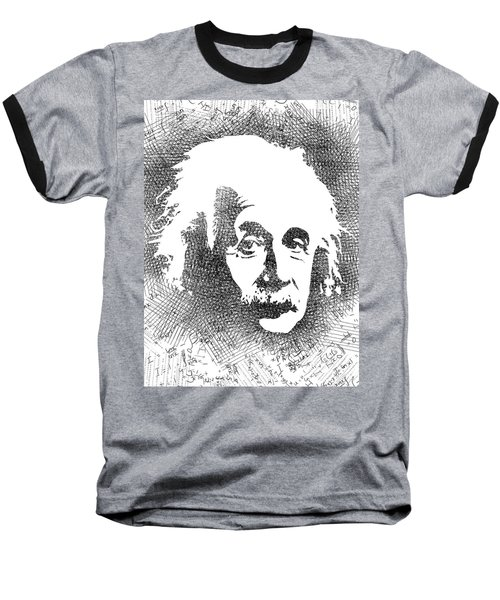 Albert Einstein Bw  Baseball T-Shirt by Mihaela Pater