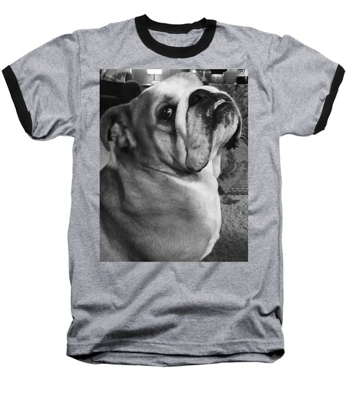 Alfred Hitchcock Bullie Pose Baseball T-Shirt by Kym Backland