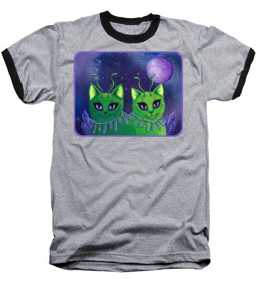 Baseball T-Shirt featuring the painting Alien Cats by Carrie Hawks