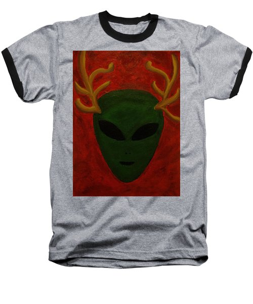 Baseball T-Shirt featuring the painting Alien Deer by Lola Connelly