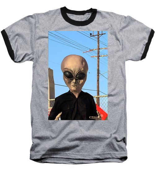 Alien Face At 6th Street Bridge Baseball T-Shirt by Viktor Savchenko