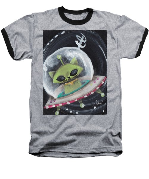 Alien Green Space Cat Baseball T-Shirt by Abril Andrade Griffith