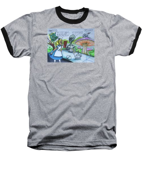 Alien In Wonderland Baseball T-Shirt