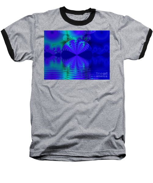 Alien Sunset Over Fantasy Lake Baseball T-Shirt