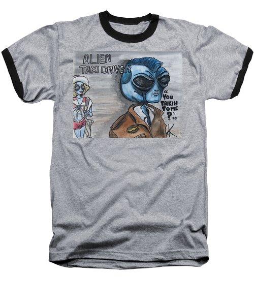 Alien Taxi Driver Baseball T-Shirt