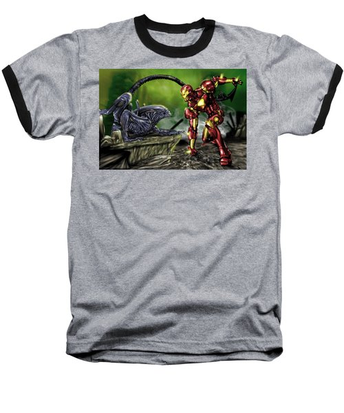 Alien Vs Iron Man Baseball T-Shirt