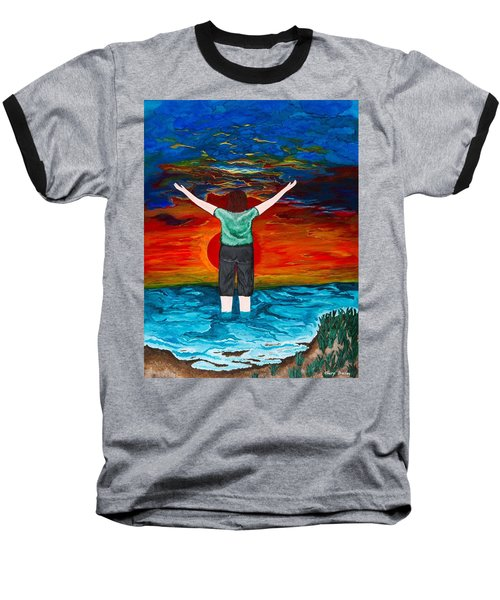 Baseball T-Shirt featuring the painting Alive by Cheryl Bailey