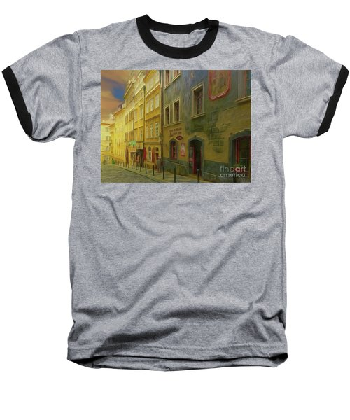 All Downhill From Here - Prague Street Scene Baseball T-Shirt