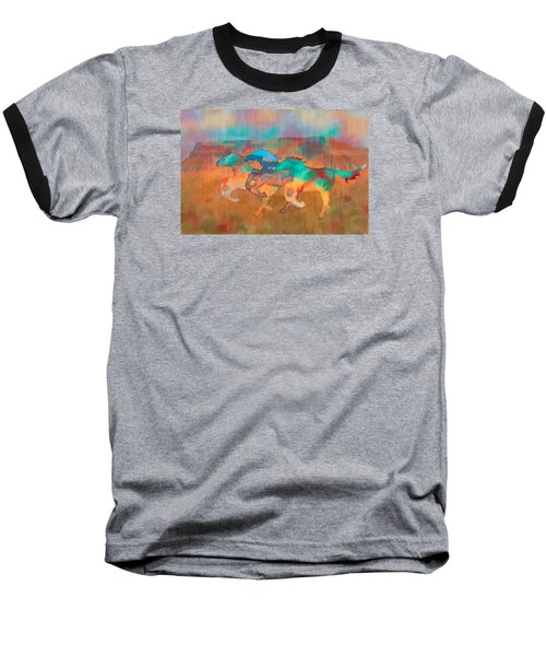 Baseball T-Shirt featuring the digital art All The Pretty Horses by Christina Lihani