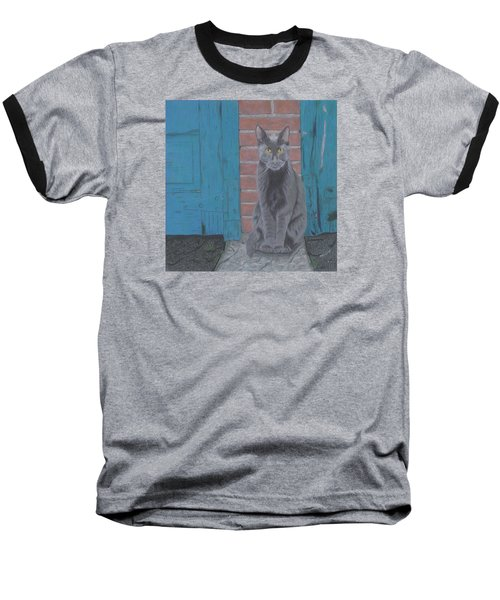Baseball T-Shirt featuring the drawing Alley Cat by Arlene Crafton