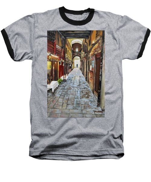 Baseball T-Shirt featuring the painting Alley On Parangon In Venice by Jan Dappen