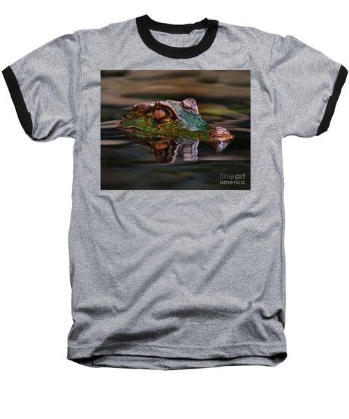Alligator Above Water Reflection Baseball T-Shirt by Loriannah Hespe