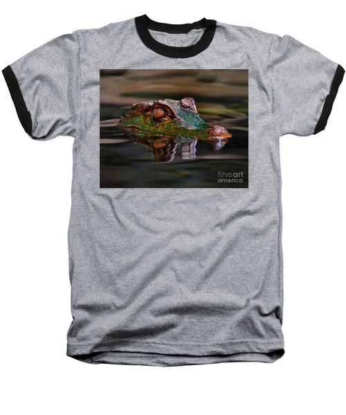 Alligator Above Water Reflection Baseball T-Shirt