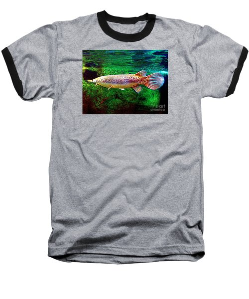 Alligator Gar Fish  Baseball T-Shirt by Merton Allen
