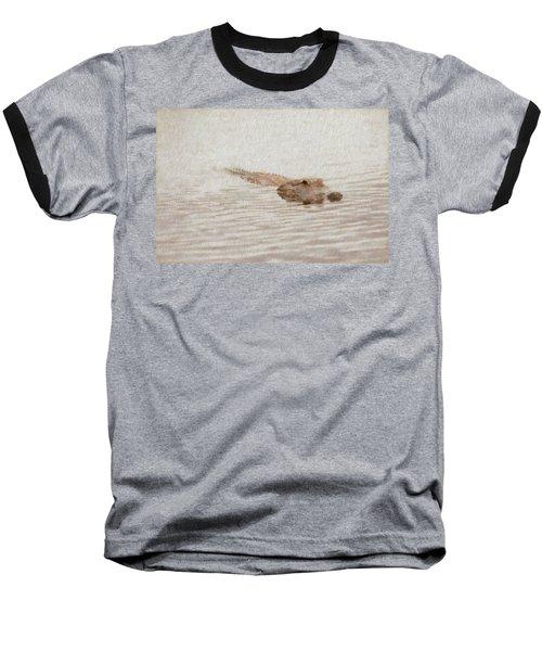 Alligator Waiting In The Water Baseball T-Shirt