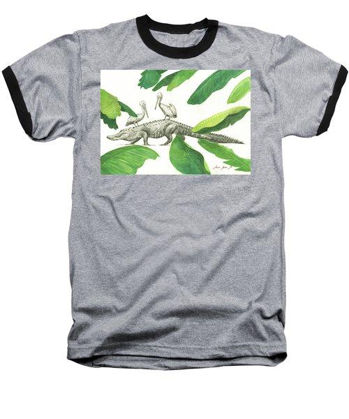 Alligator With Pelicans Baseball T-Shirt