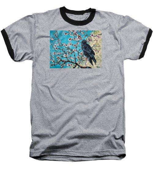 Almond Branch And Raven Baseball T-Shirt