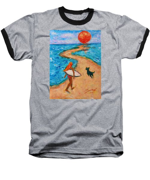 Baseball T-Shirt featuring the painting Aloha Surfer by Xueling Zou
