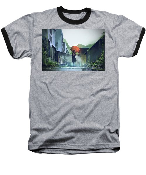 Alone In The Abandoned Town Baseball T-Shirt