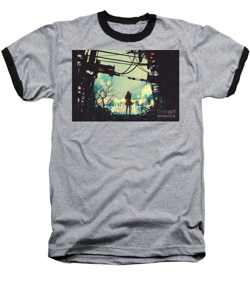 Alone In The Abandoned Town#2 Baseball T-Shirt