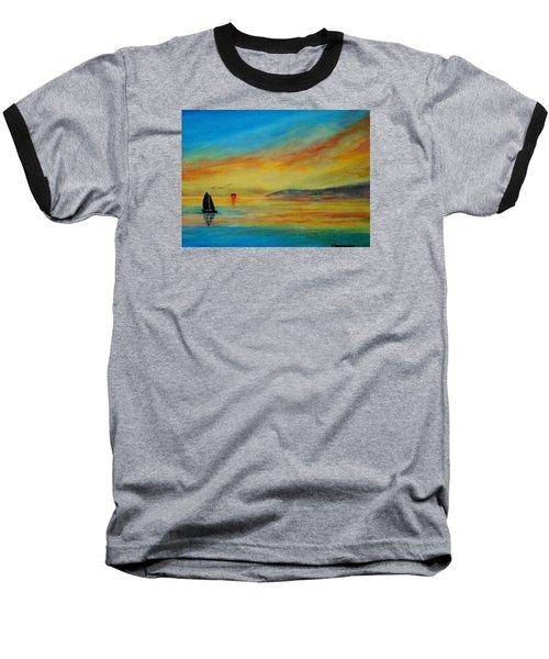 Alone In Winter Sunset Baseball T-Shirt