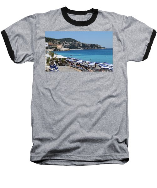 Baseball T-Shirt featuring the painting Along The Beach In Nice Looking Over Toward Monaco by Rod Jellison