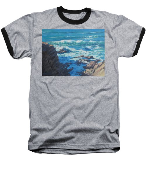 Baseball T-Shirt featuring the painting Along The Cliff by Karen Ilari