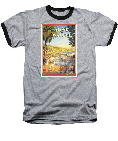 Along The Malibu Baseball T-Shirt by Nostalgic Prints