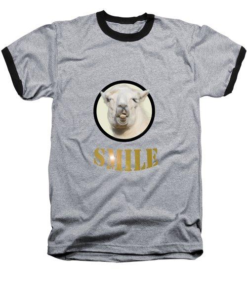Alpaca Smile  Baseball T-Shirt by Rob Hawkins