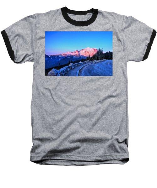 Alpenglow At Mt. Rainier Baseball T-Shirt