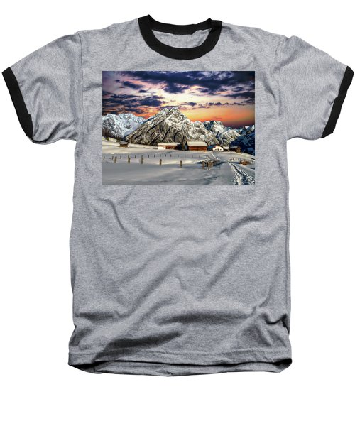 Alpine Winter Scene Baseball T-Shirt