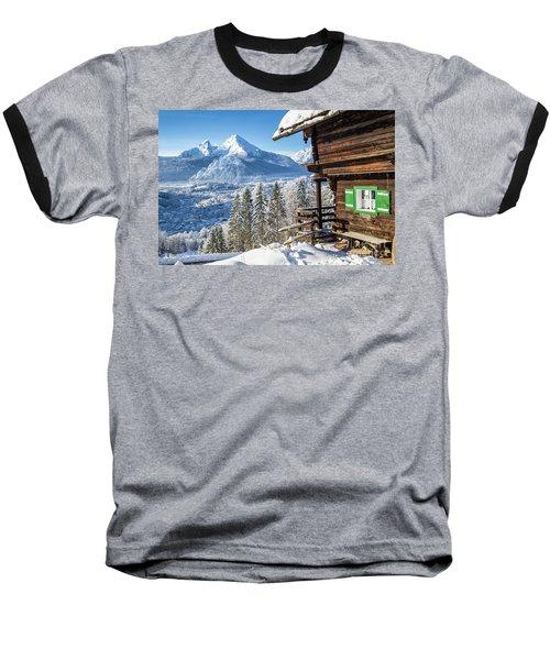 Alpine Winter Wonderland Baseball T-Shirt by JR Photography