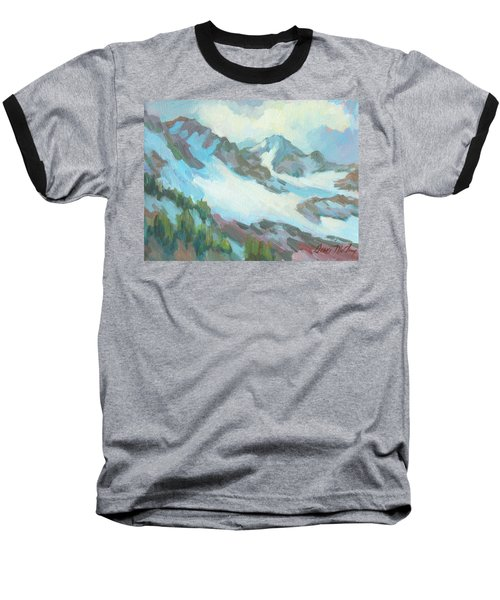 Baseball T-Shirt featuring the painting Alps In Switzerland by Diane McClary