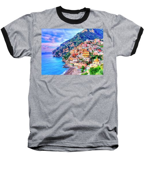 Amalfi Coast At Positano Baseball T-Shirt by Dominic Piperata