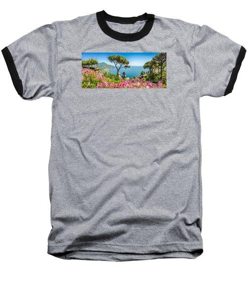 Amalfi Coast From Villa Rufolo Gardens In Ravello, Campania, Ita Baseball T-Shirt