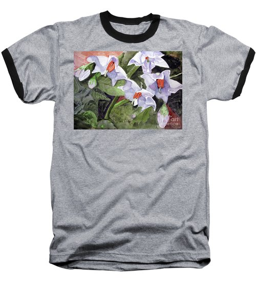 Amanda's Blue Potato Flowers Baseball T-Shirt by Sandy McIntire